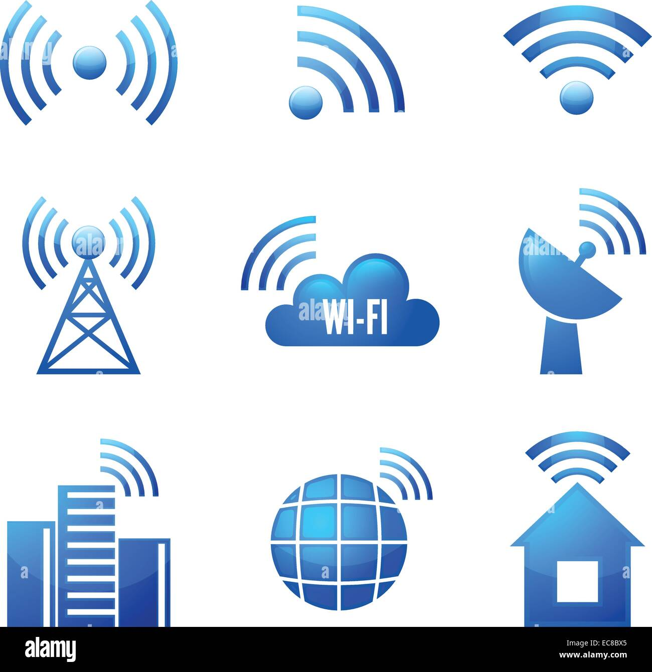 Electronic device wireless internet connection WiFi symbols glossy ...