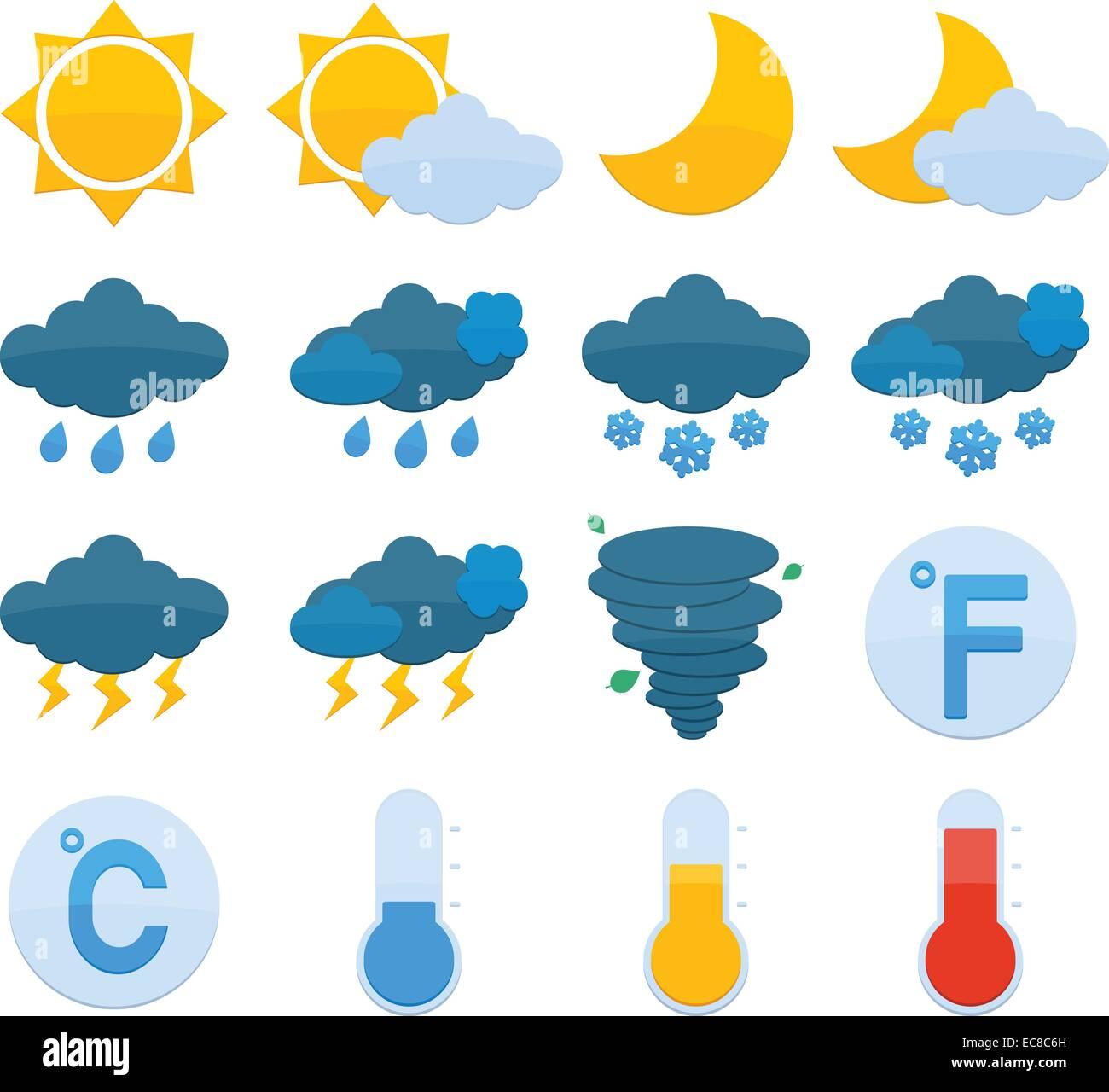 Weather Forecast Symbols Color Icons Set Of Sun Cloud Rain