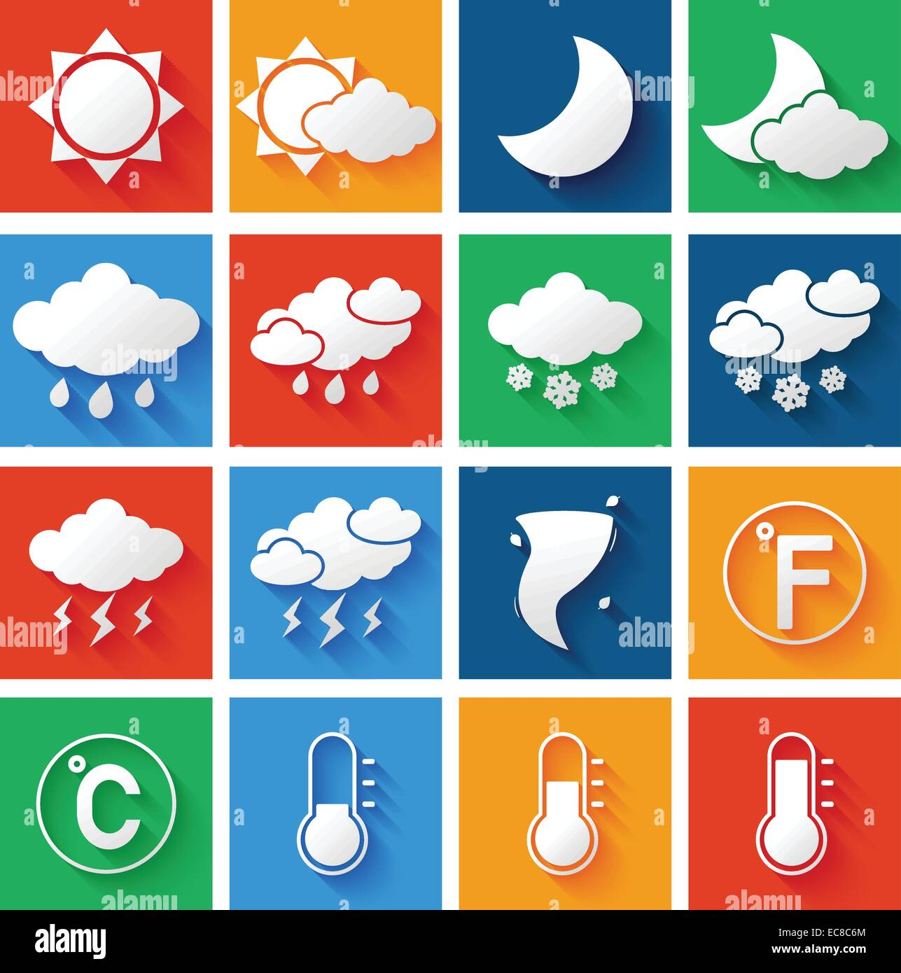 Weather Forecast Symbols White Icons Set Of Wind Thunderstorm Clouds