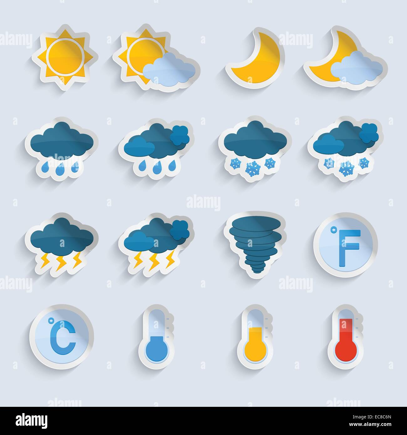 Weather Forecast Symbols Paper Stickers Set Of Sun Clouds Rain And