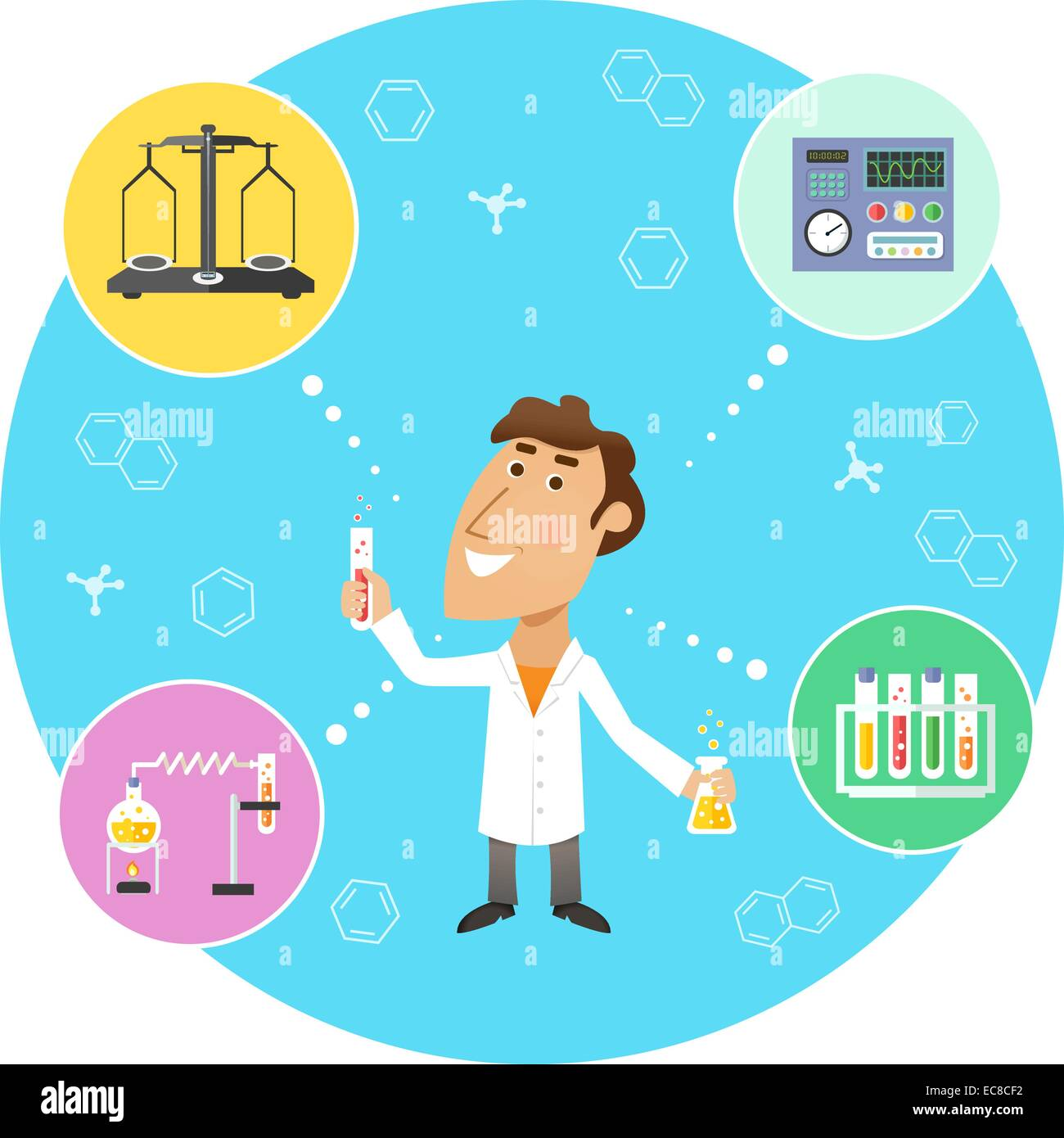 Scientist chemist in lab with scales flasks and molecular structure symbols on background vector illustration - Stock Vector
