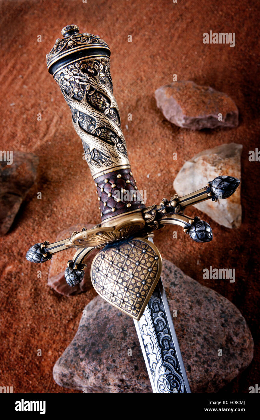 smart dagger of the medieval soldier. It was used for hunting Stock Photo