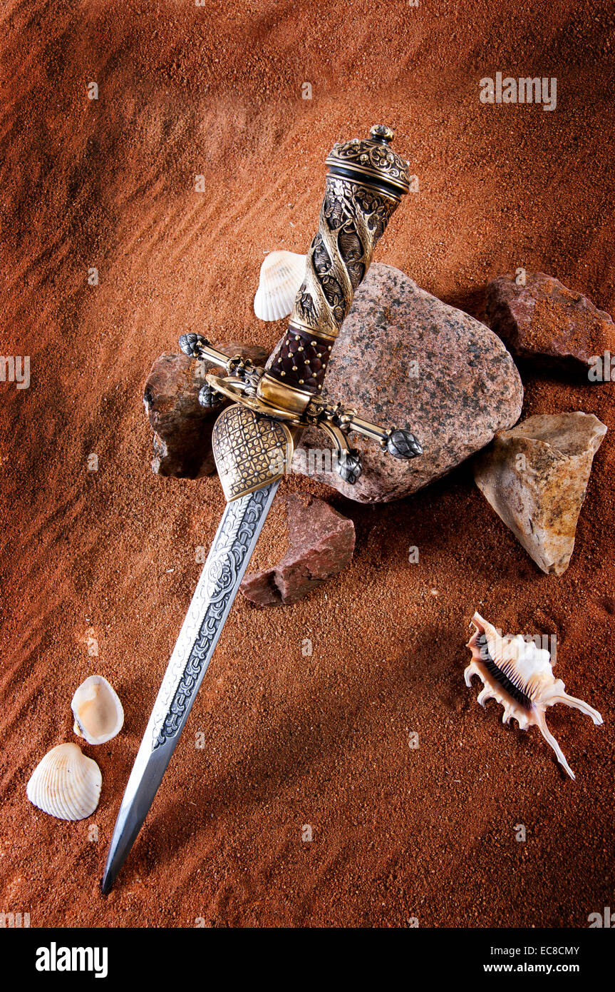 Smart dagger of the medieval soldier. It was used for hunting - Stock Image