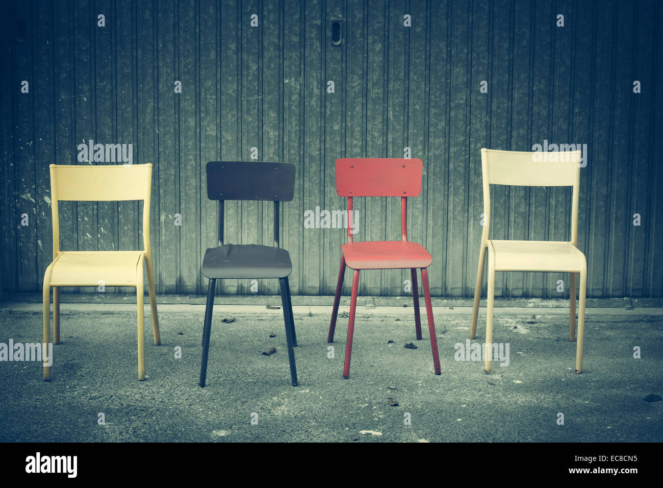 chairs street road - Stock Image