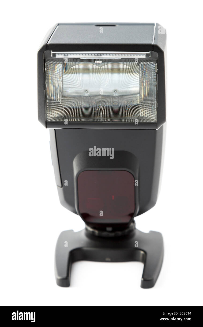 Electronic hotshoe camera flash flashgun with an angled tilting flash head isolated on a white background - Stock Image