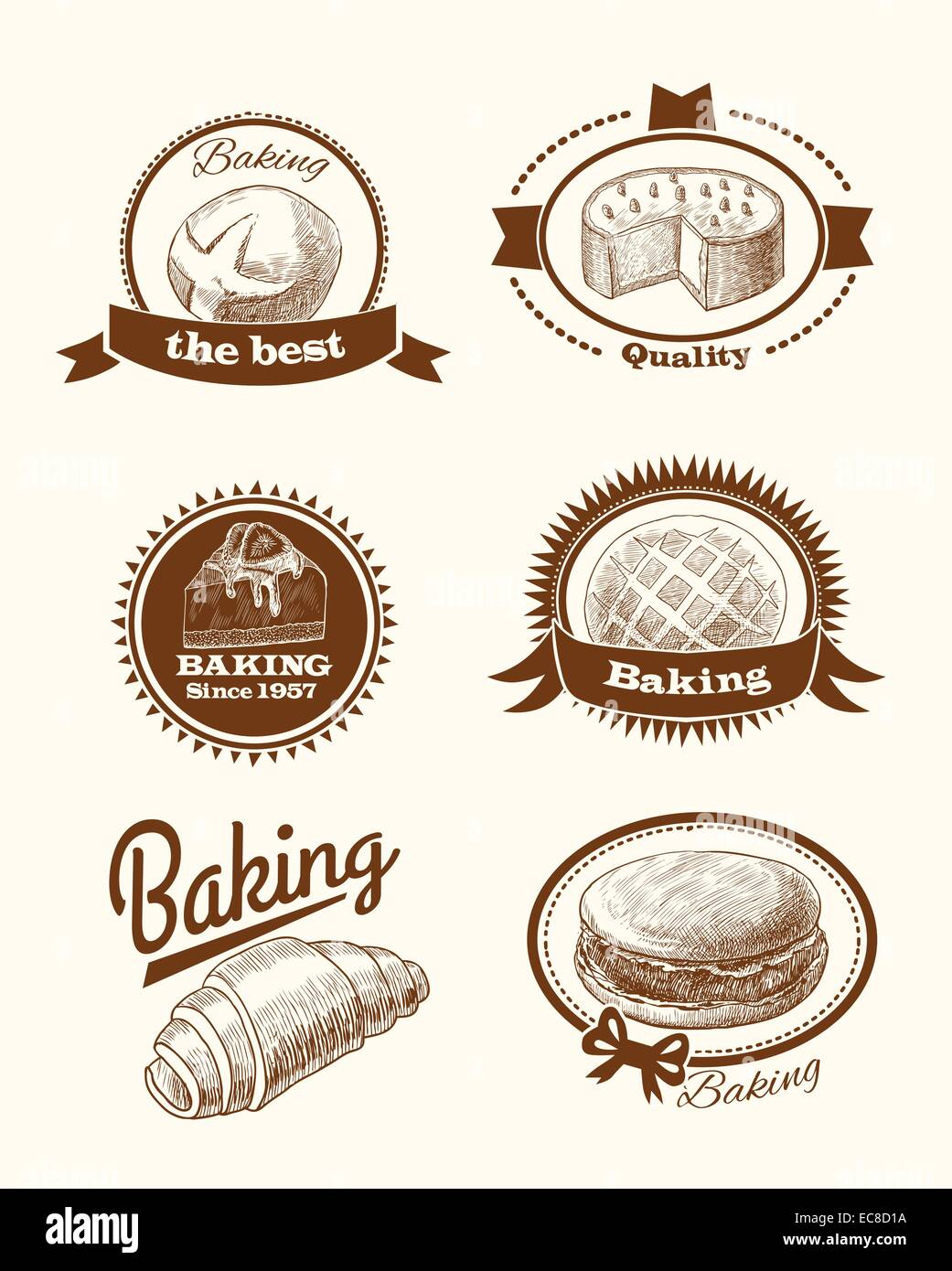 Baked pastry cakes and traditional brean food labels with frames and ...