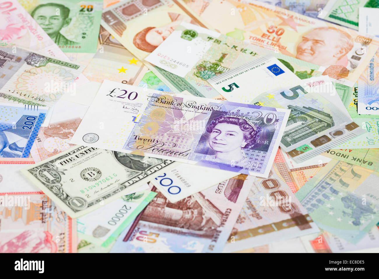 International currency banknotes, focus on british pound - Stock Image