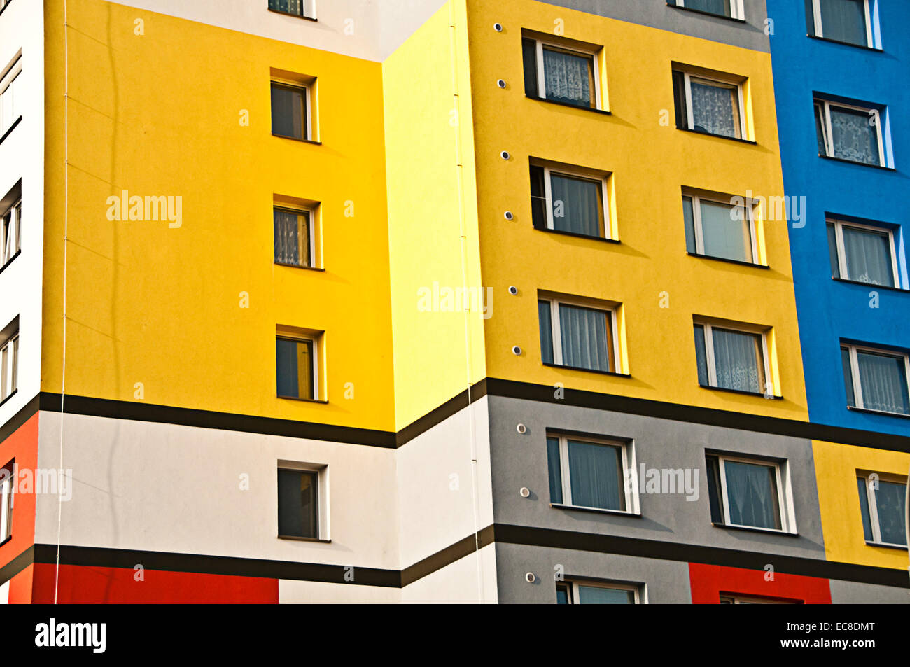 modern apartments building with colorful walls Stock Photo: 76403736 ...