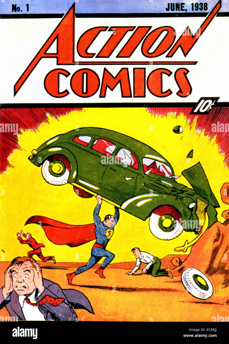ACTION COMICS No 1 published in June 1938 with the first appearance of Superman - Stock Image