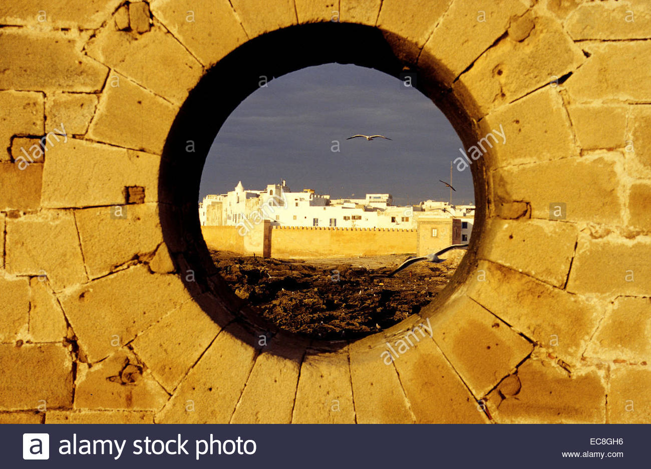 View over the rampart of the old town. Essaouira - Stock Image