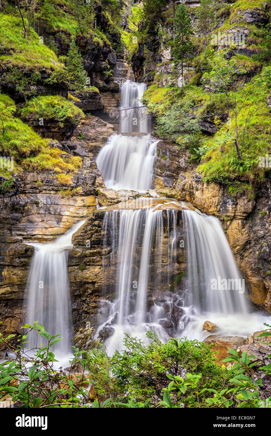 Longtime exposure of Kuhlfucht waterfall in Germany Bavaria - Stock Image