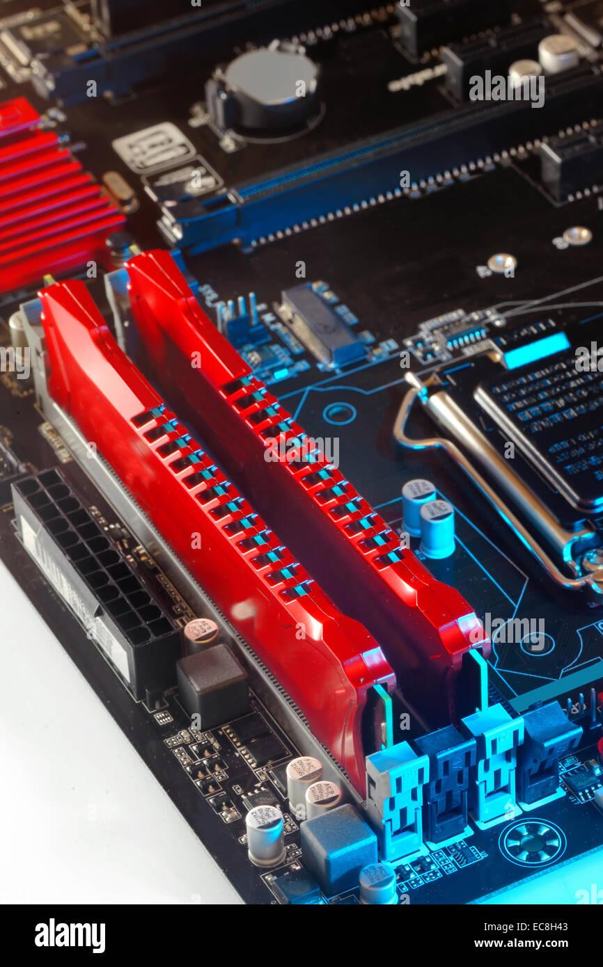 Two ram modules on motherboard, macro - Stock Image
