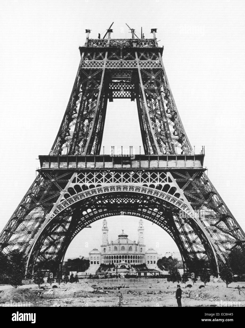 EIFFEL TOWER being built in 1889 as the entry point for the Paris Exposition Universelle - Stock Image