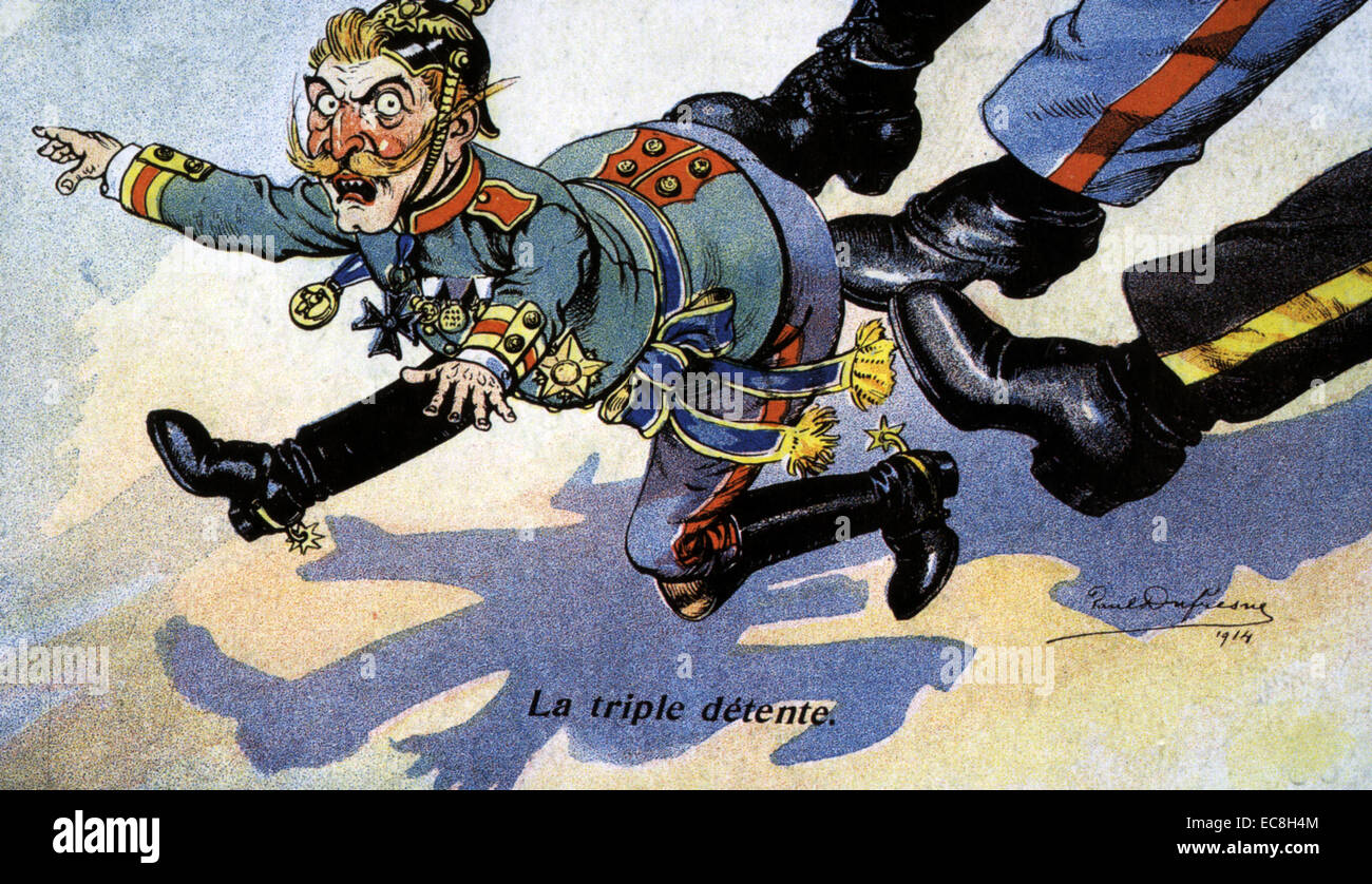 TRIPLE ENTENTE 1907 French cartoon showing Kaiser Wilhelm being kicked by Russia, France and the Unired Kingdom - Stock Image