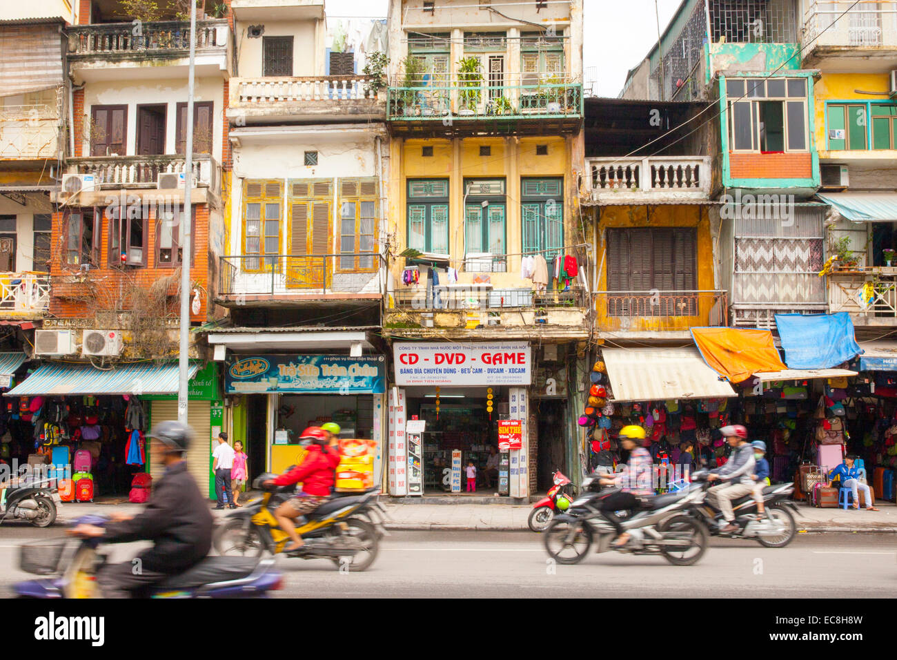 Street scene, old French quarter, Hanoi, Vietnam - Stock Image