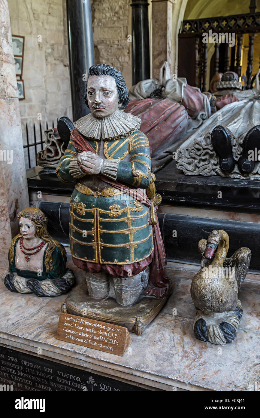 Effigy of Lucius Cary, 2nd Viscount of Falkland in 1633 and the Tanfield heir, church at Burford, Oxfordshire, UK - Stock Image