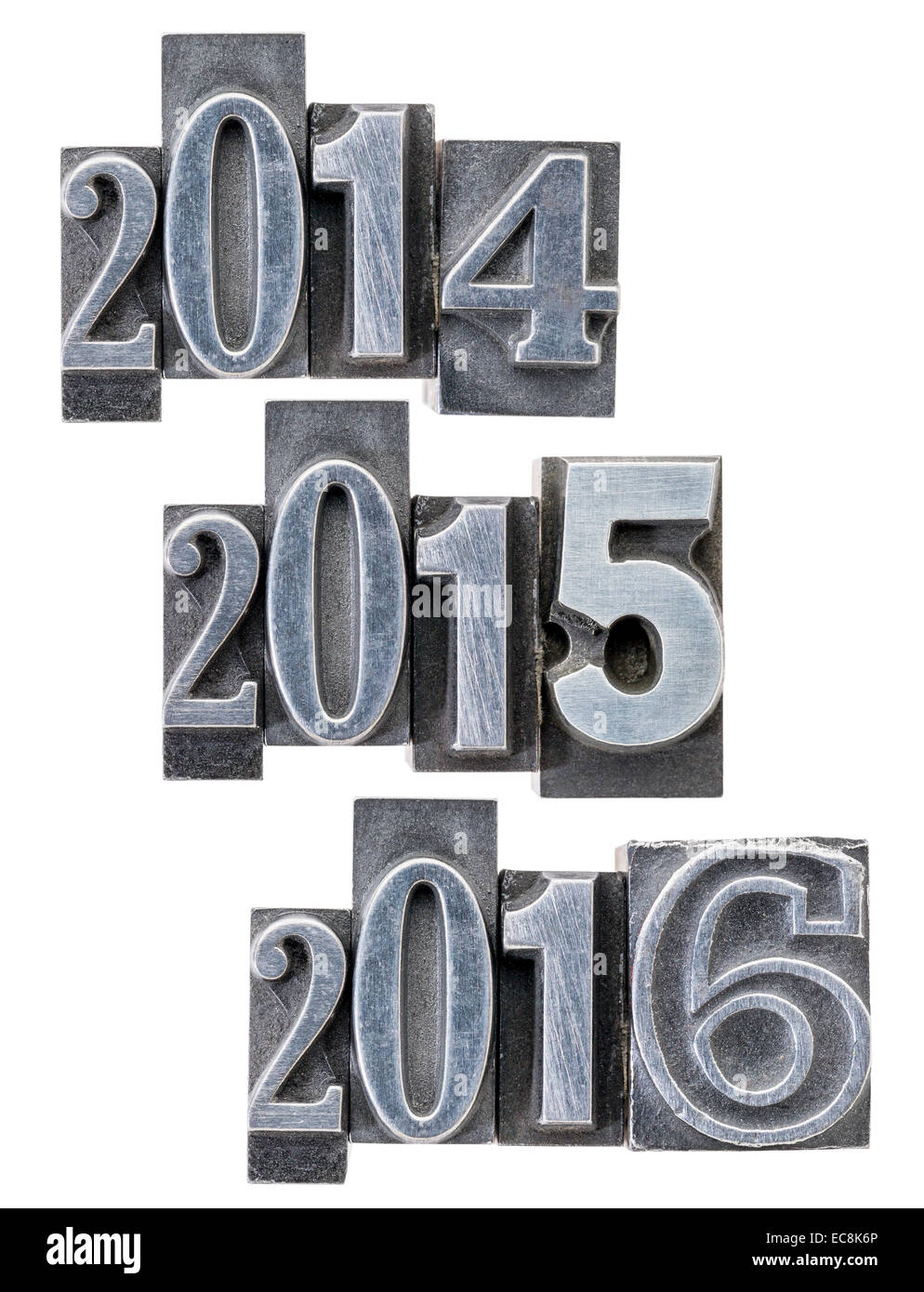 passing and incoming years 2014, 2015, 2016 - isolated numbers in vintage metal printing blocks - Stock Image