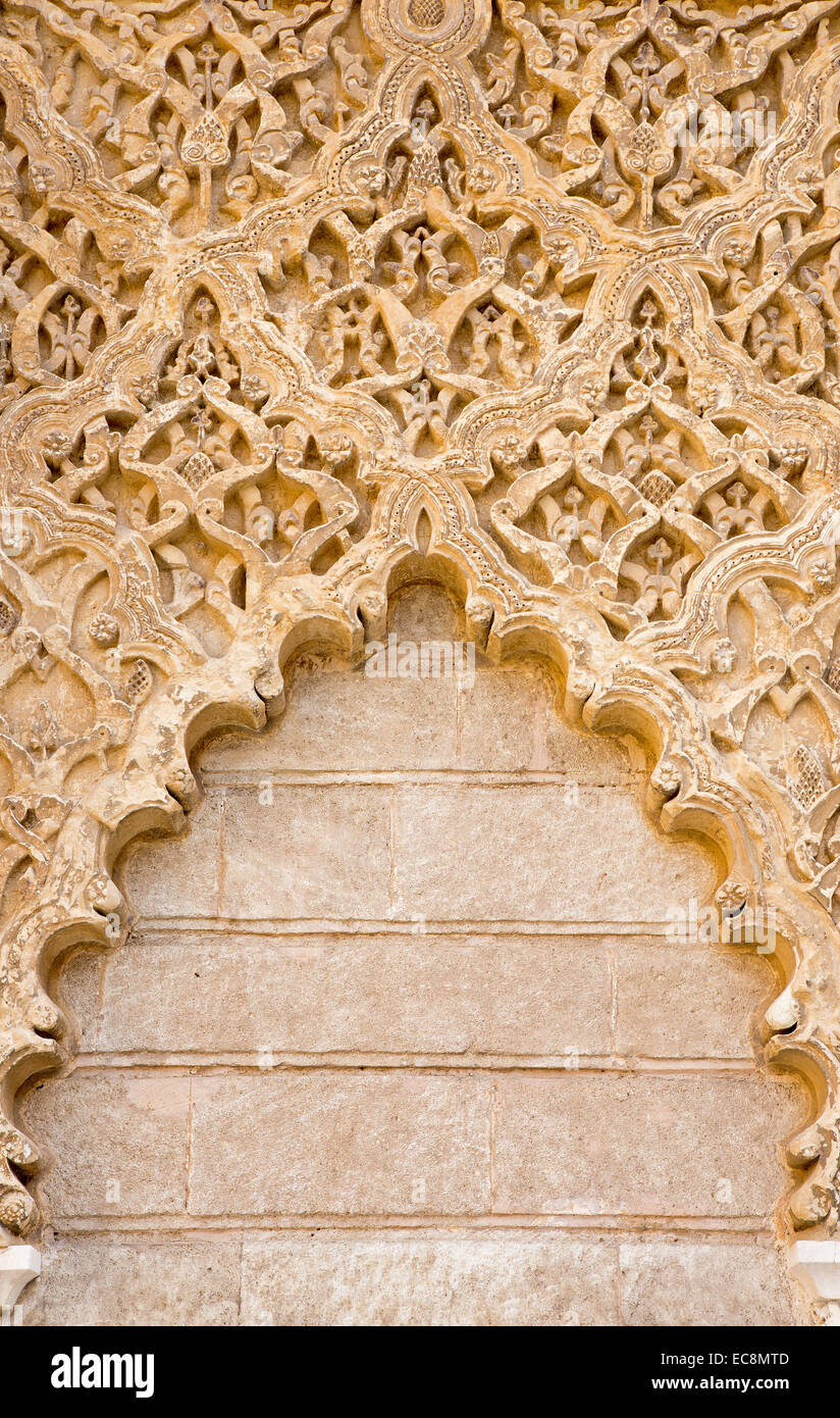 SEVILLE, SPAIN - OCTOBER 28, 2014: The mudejar stucco in Alcazar of Seville. - Stock Image