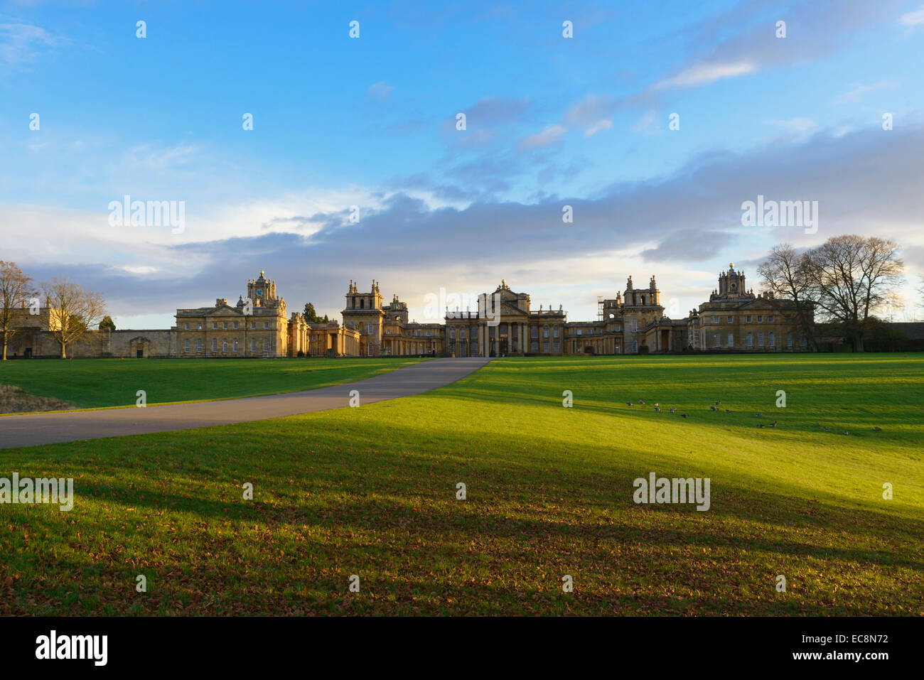 Blenheim Palace on a winter afternoon Woodstock Oxfordshire England UK - Stock Image