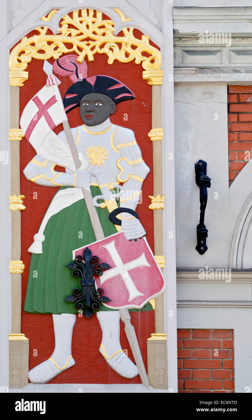 Detail Image of the black knight at the Dannenstern House in Riga, Latvia. Stock Photo