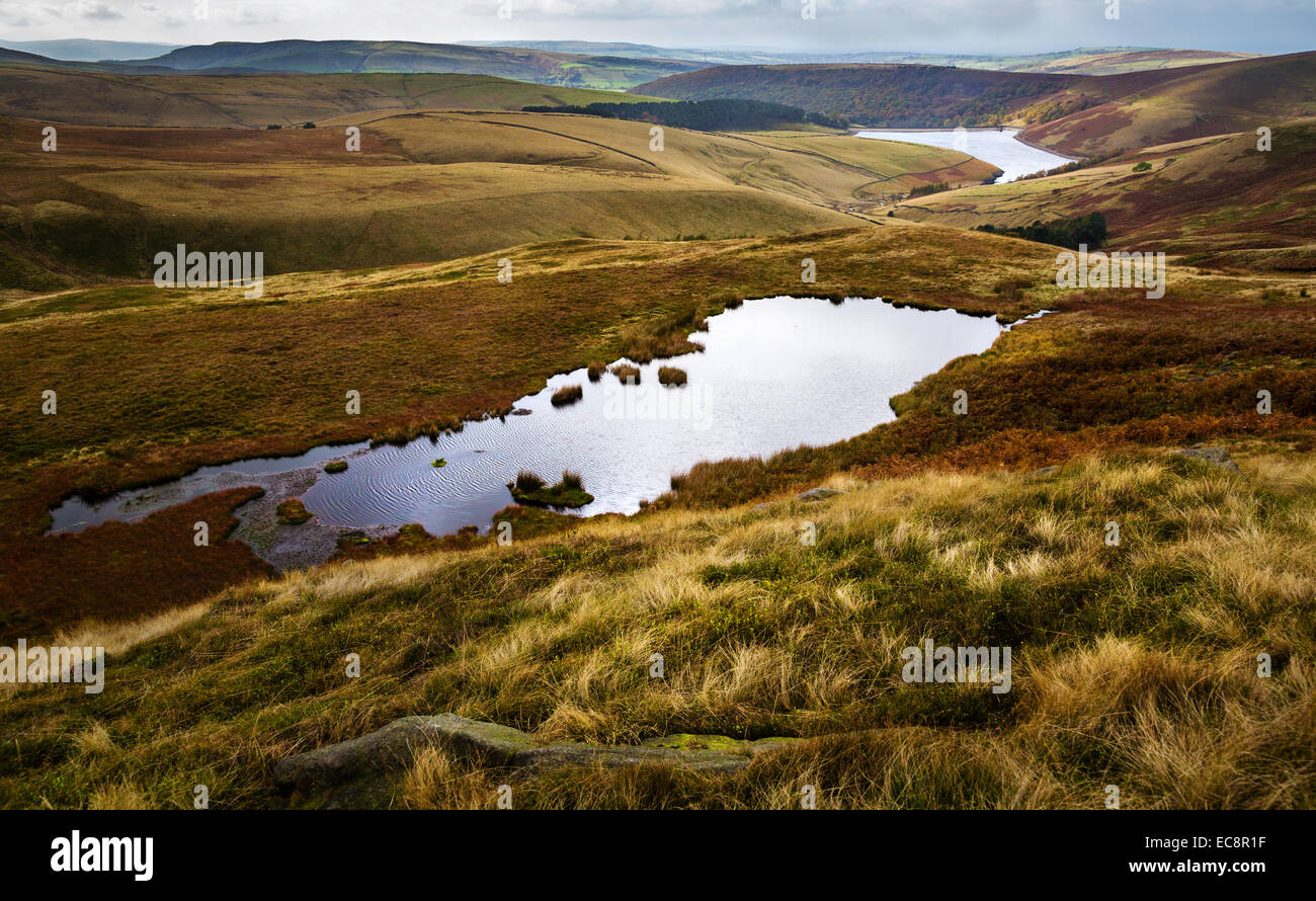 The Mermaid's Pool with Kinder Reservoir in the distance below Kinder Scout in the Derbyshire Peak District - Stock Image