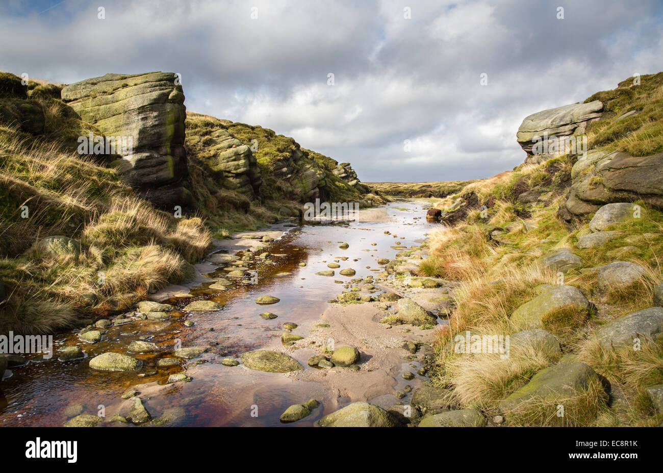 KInder Gates on the river Kinder on Kinder Scout Derbyshire Peak District UK - Stock Image