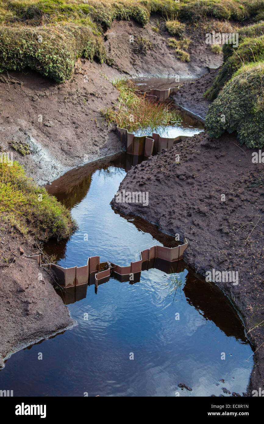 Plastic corrugated dams installed to reduce erosion of the peat haggs and groughs on Kinder plateau in Peak District - Stock Image