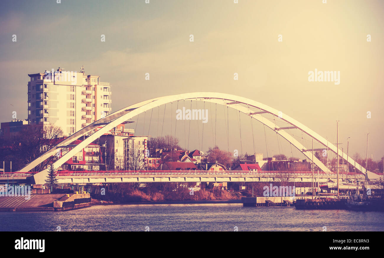 Retro vintage filtered picture of a bridge in Kolobrzeg, Poland. - Stock Image