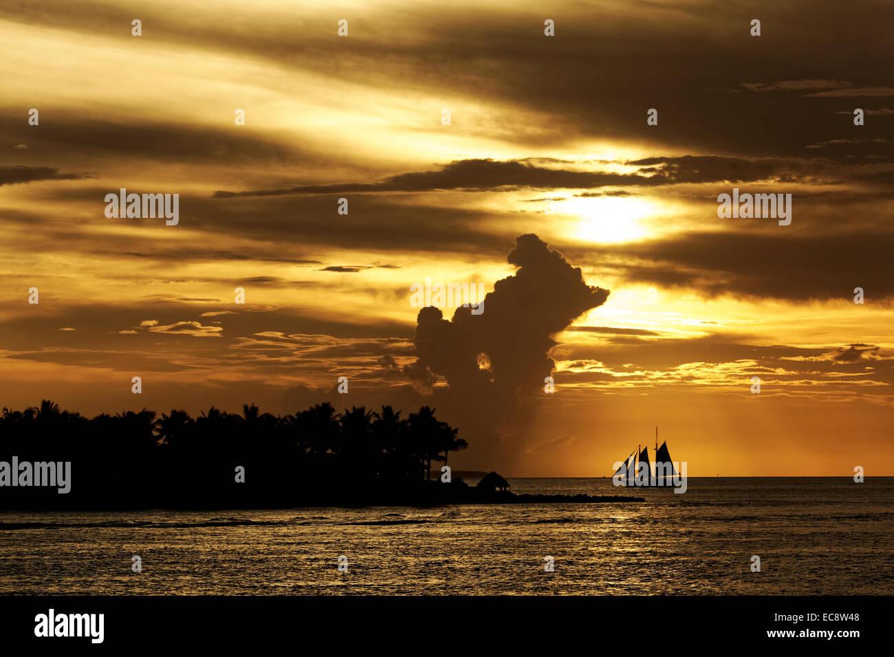 Golden Sunset at Key West, Florida, USA - Stock Image