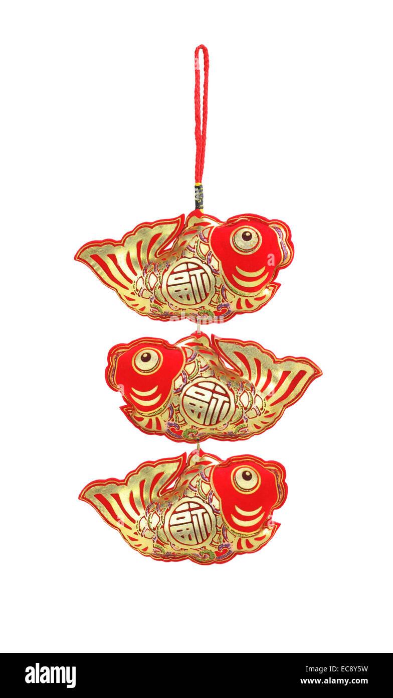 Chinese New Year Auspicious Fish Ornaments - Abundant Surplus - Stock Image