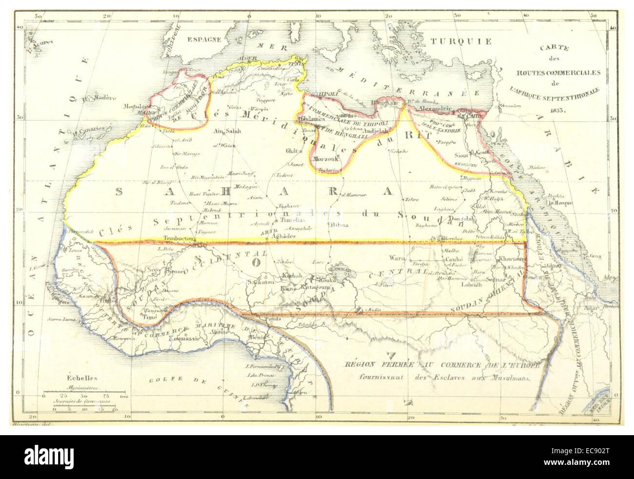 ESCAYRAC(1853) p568 CARTE DES ROUTES COMMERCIALES DE L'AFRIQUE SEPTENTERIONALE - Stock Image
