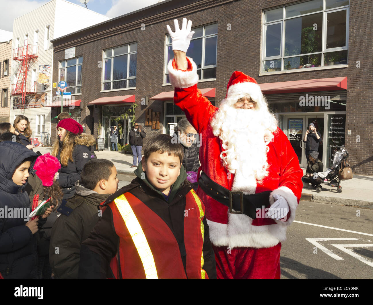 Santa Jingle Bell Parade in the Greenpoint section of Brooklyn, NY, 2013. - Stock Image