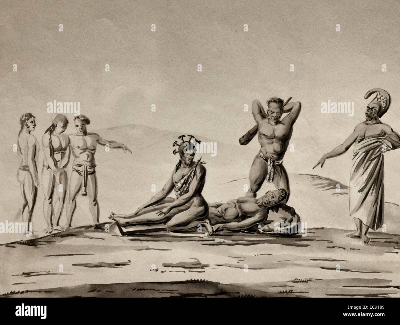 The Death penalty of public execution by clubbing. Hawaii, 1819 Jacques  Etienne Victor Arago