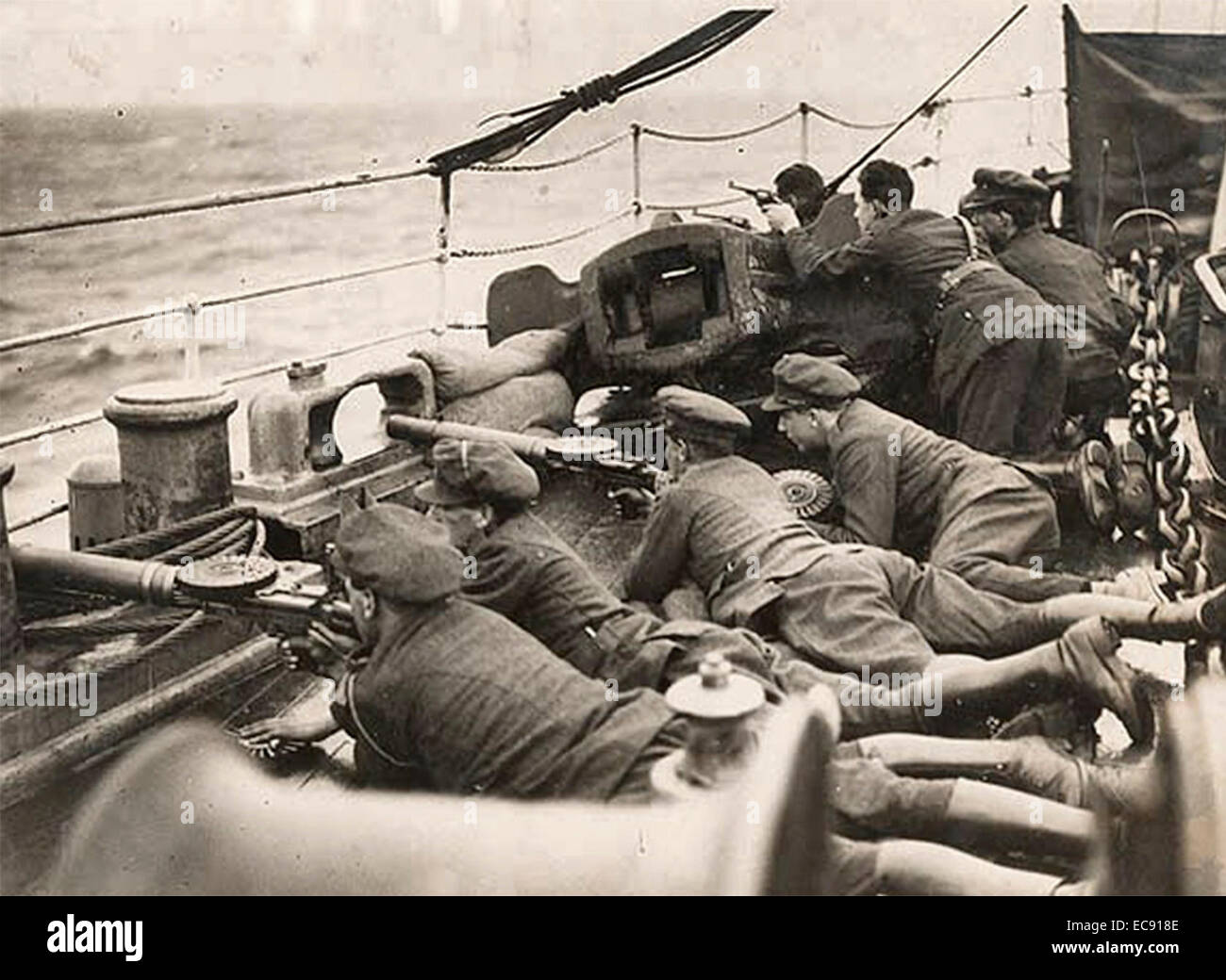 National Army troops on board a ship bound for a secret destination during the Irish Civil War 1922 - Stock Image