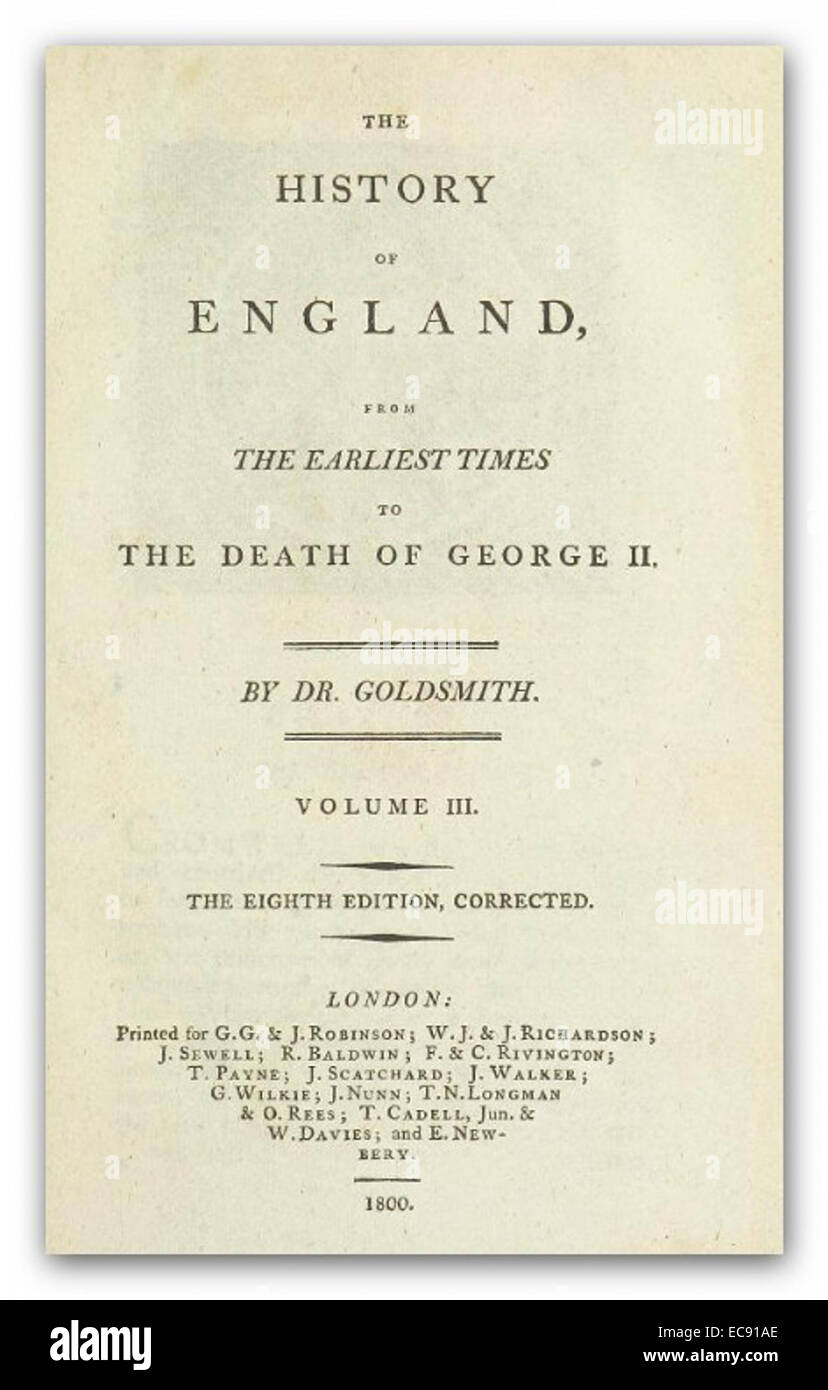 GOLDSMITH(1880) The history of England Vol.3 - Stock Image