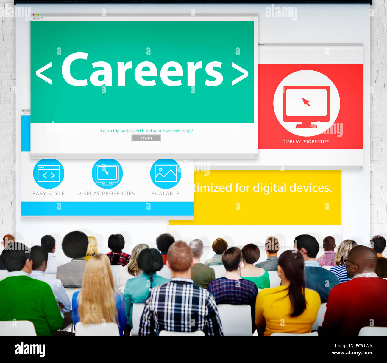 Careers Employment Job Recruitment Profession Seminar Conference Concept - Stock Image