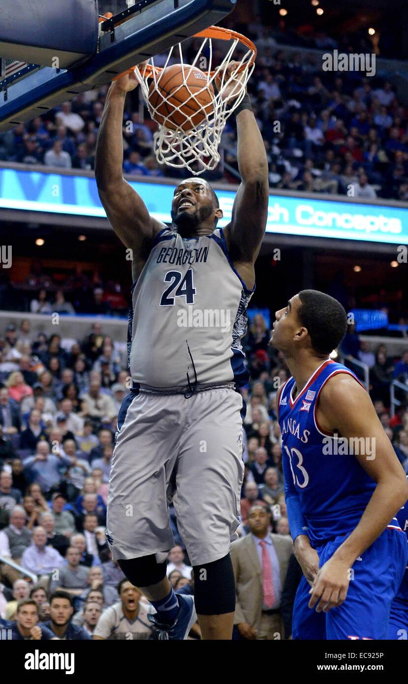 Washington, DC, USA. 10th Dec, 2014. 201411210 - Georgetown center Joshua Smith (24) dunks against Kansas in the Stock Photo
