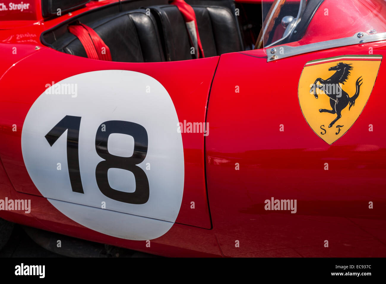 Details from a Ferrari 250  TR 59 Testa Rossa, Copenhagen, Denmark Stock Photo