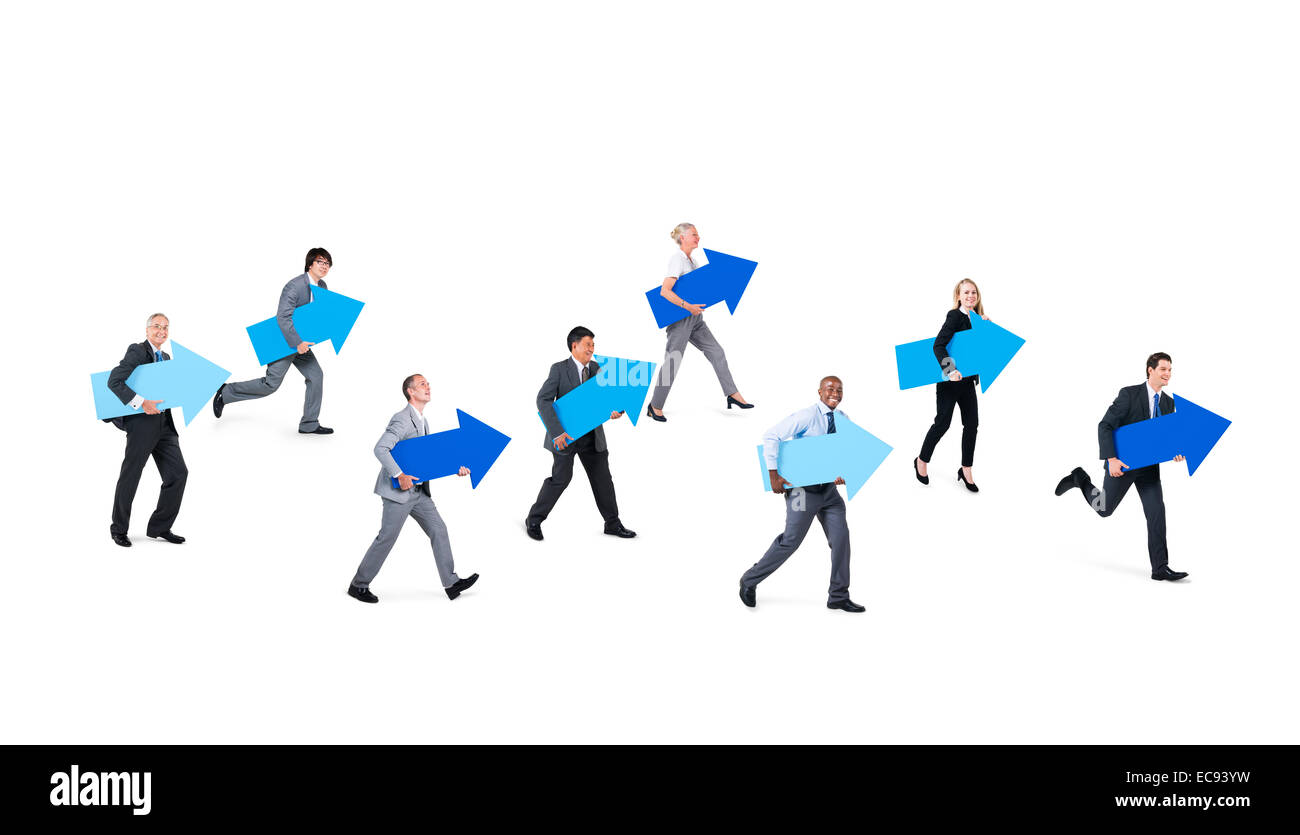 Group of Multi Ethnic Corporate People Holding Blue Arrow Signs indicating Moving Forward - Stock Image