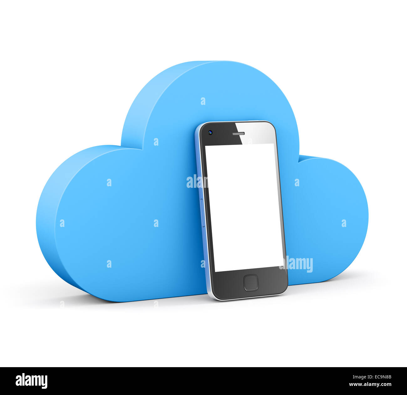 cloud shape speech bubble with phone. - Stock Image