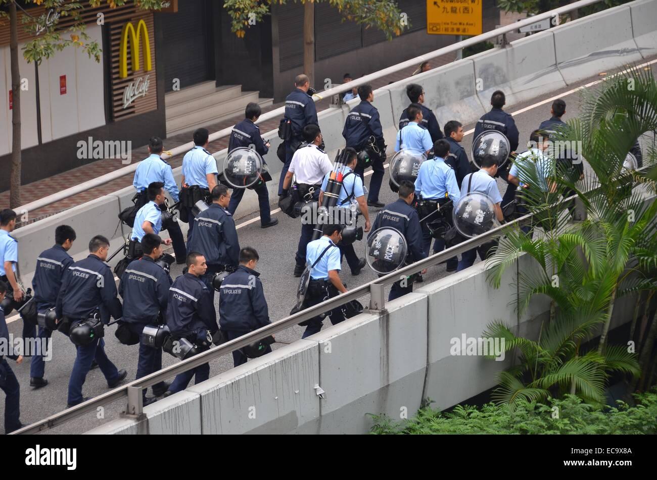 Hong Kong, China. 11th December, 2014. After 74 days of the Occupy Hong Kong protest, police enact a court injunction - Stock Image