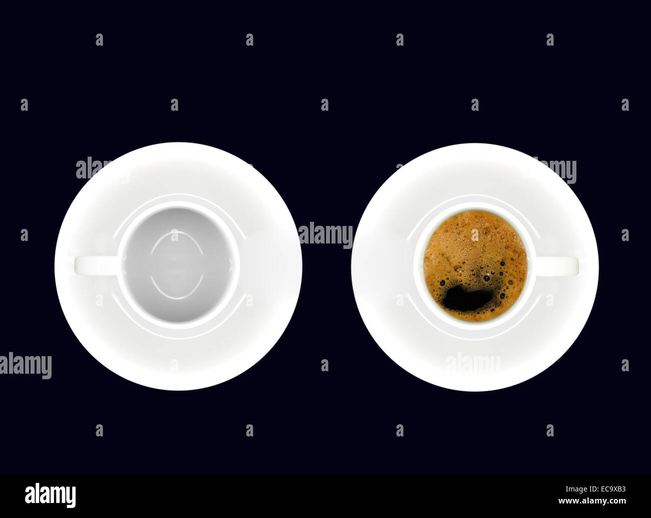 Pair of white porcelain cups with saucers, one containing coffee and one empty, on black background. - Stock Image