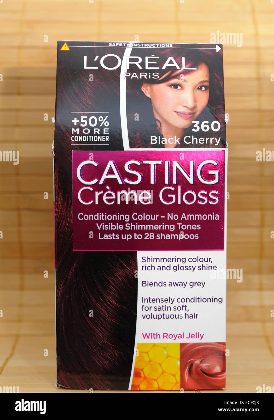 Loreal Black Cherry Casting Creme Gloss Hair Dye Stock Photo
