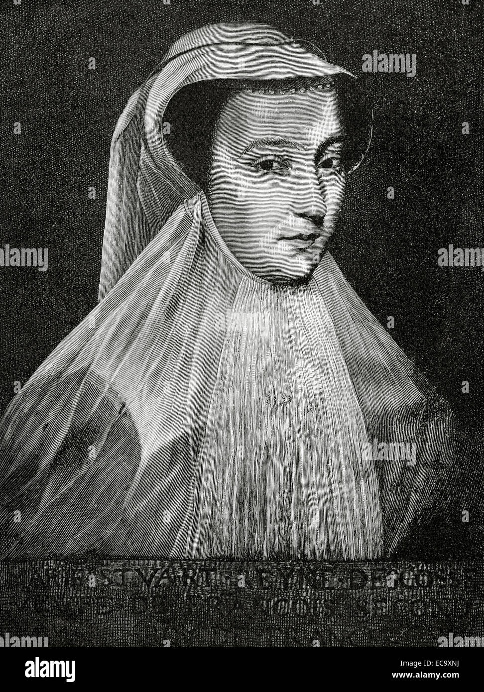 Mary, Queen of Scots (1542-1587). Queen of Scotland and Queen consort of France. Engraving by E. Krell. Historia - Stock Image