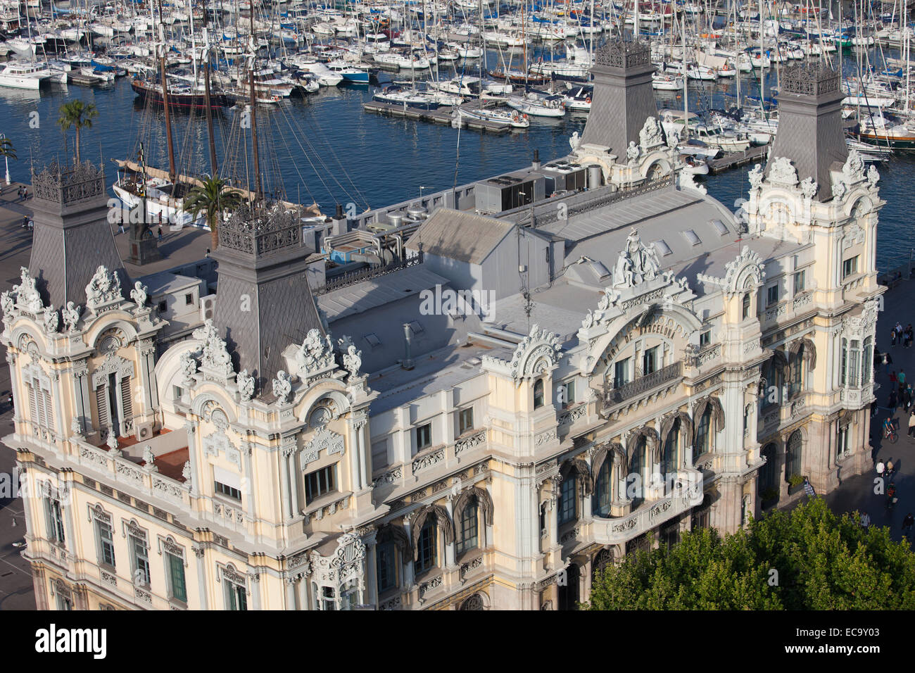 Port Authority of Barcelona building from above in Port Vell, Barcelona, Catalonia, Spain. - Stock Image