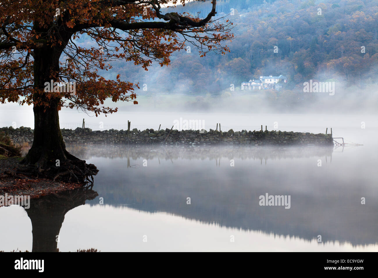 Brantwood across Coniston Water on a Misty Autumn Morning near Coniston Cumbria England - Stock Image