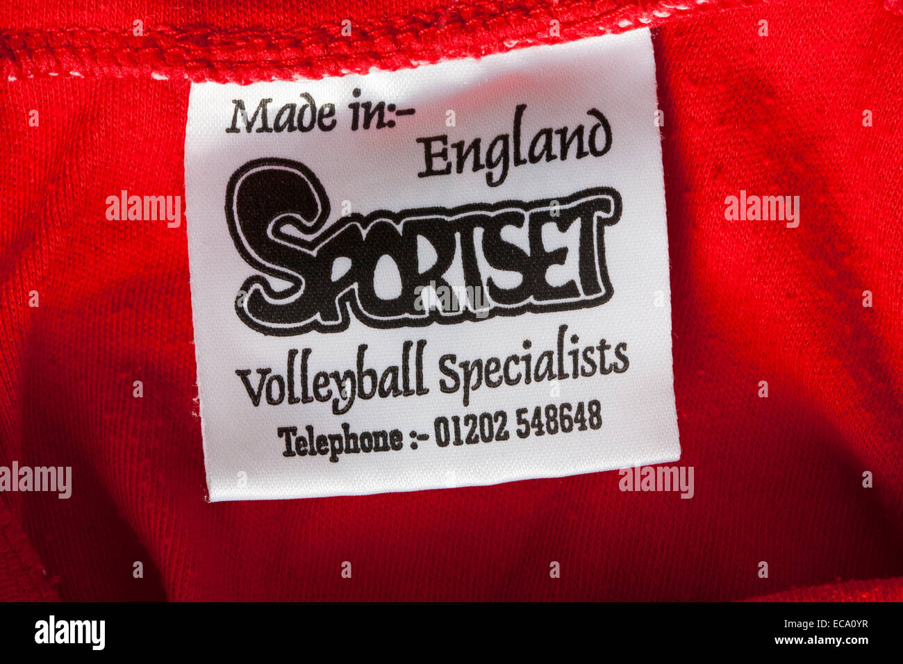 label in clothing - Made in England Sportset Volleyball specialists - Stock Image