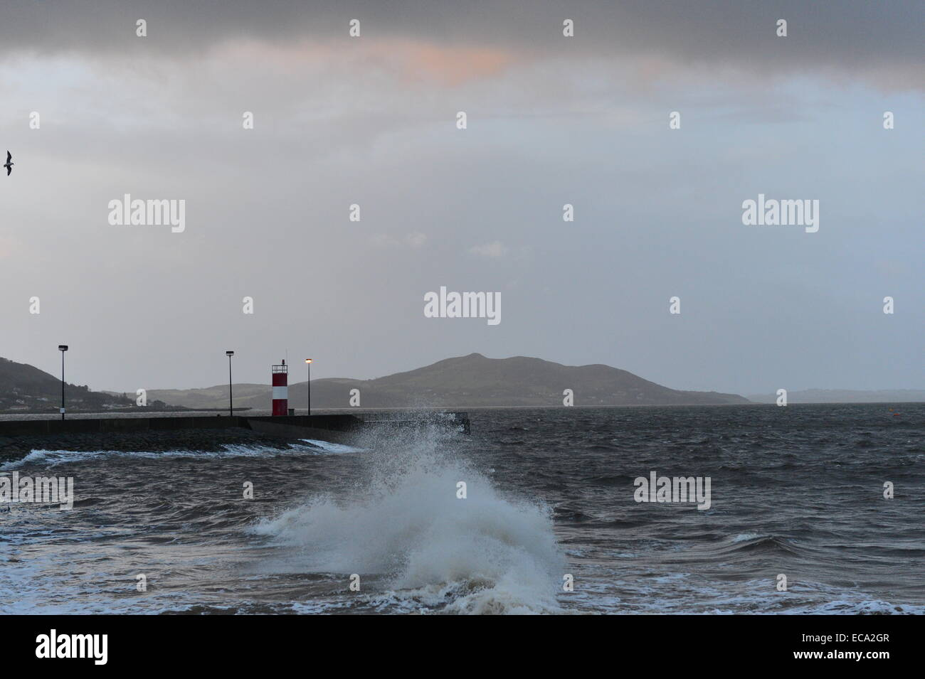Donegal Coast, Ireland. 11th December, 2014. Ireland Weather: Gale force winds and high waves at Buncrana Pier, - Stock Image