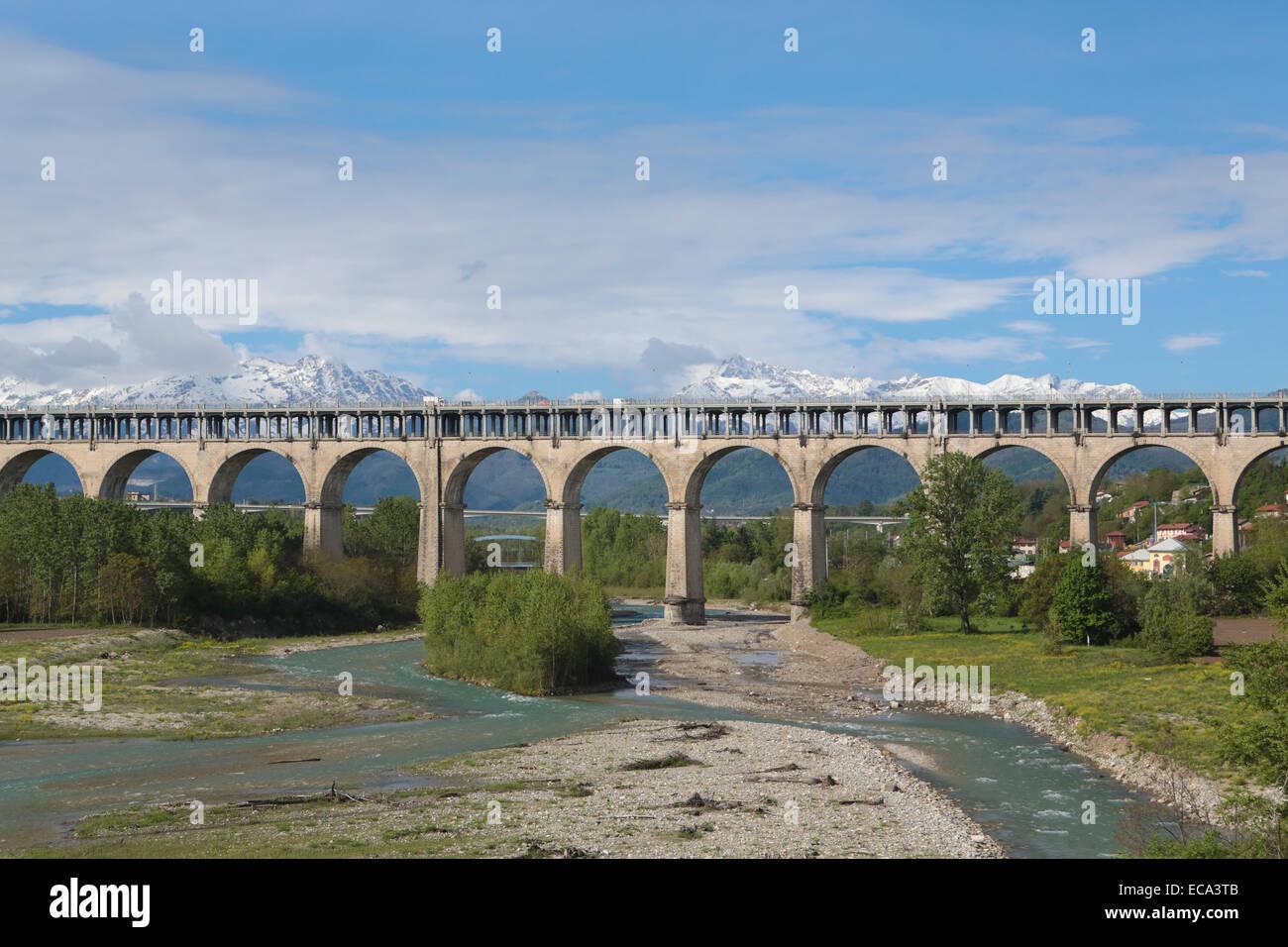 Bridge over the Torrente Gesso, Cuneo, Piedmont, Italy - Stock Image