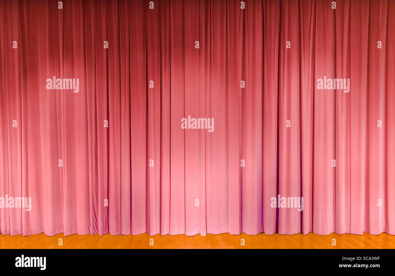 A curtain in pink, theater stage - Stock Image